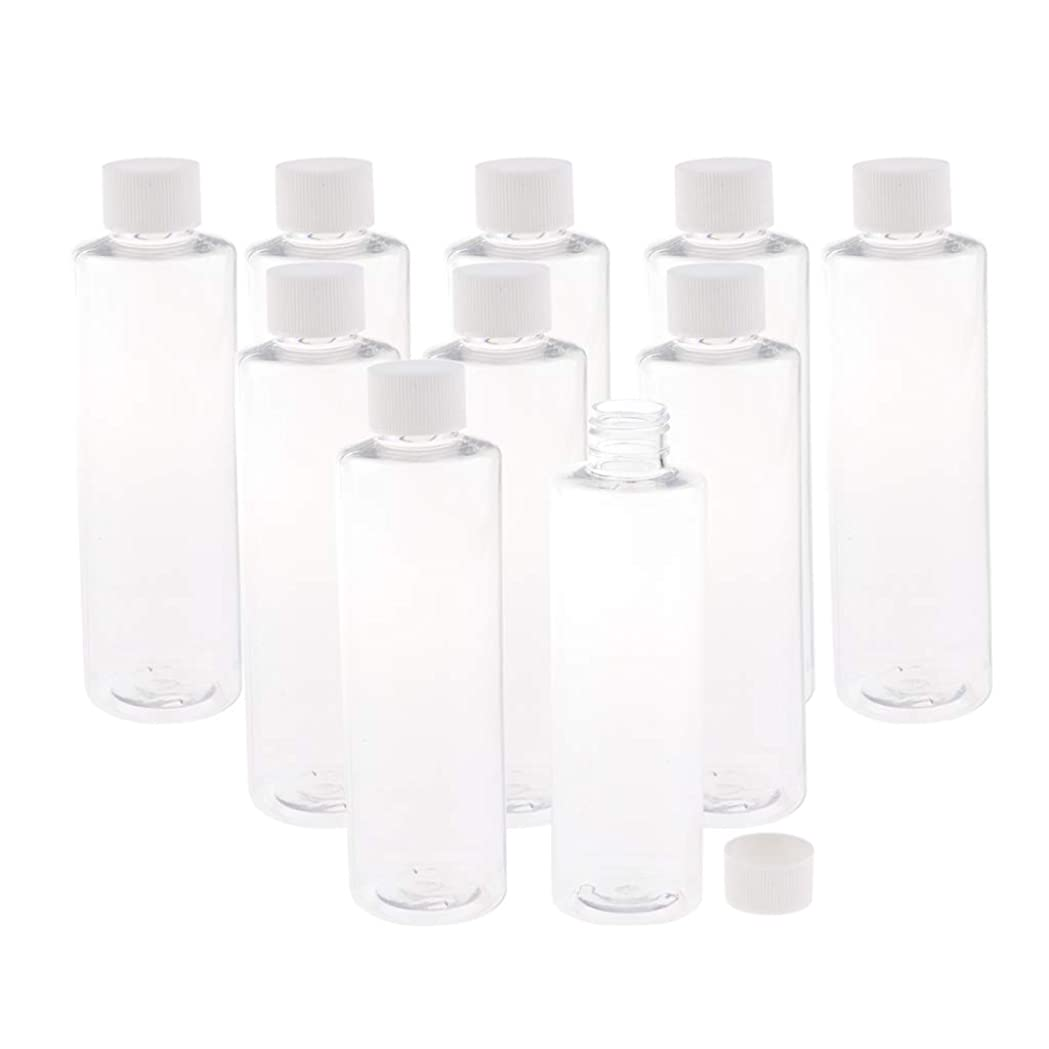 小屋動物園シーフードSM SunniMix プラスチック製 透明ボトル スクリュートップ キャップ付き 空のボトル 200ミリリットル 3色選ぶ - ホワイトキャップ