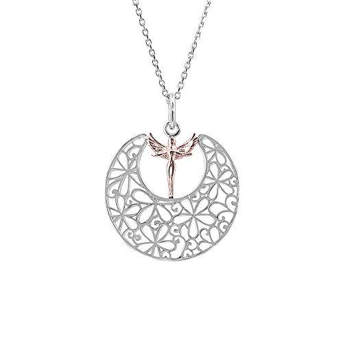 Kiara Jewellery colgante de plata de ley rodiada con diseño de hada en la luna, con hada chapada en oro de 18 quilates, en una cadena de eslabones de talla italiana de 18 pulgadas.
