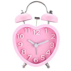 Monicca 3in 3D Dial Loud Twin Bell Alarm Clock Silent Analog Quartz Nightlight Clock Heart Shape Pink