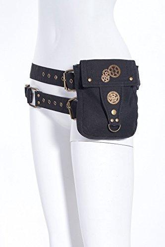 RQ-BL Steampunk Baumwoll-Gürtel mit Tasche und Pistolen-Kugeln Munitionsgürtel Gurt, Farbe:Schwarz