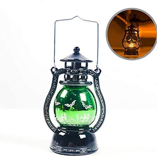 Cestbon Halloween-decoratie, lantaarn, halloweenolie, lamp, werkt op batterijen, theelichtje, vlamloos, vleermuis, voor bar, thuis, outdoor decoratie