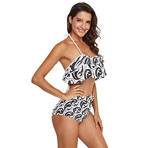 Women Two Piece Swimsuit High Waisted Bikini Off Shoulder Ruffle Bathing Suits, Taichi Yin Yang Gossip Vintage