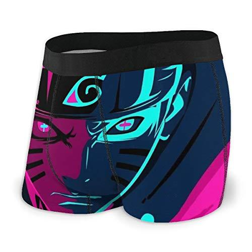 Yellowbiubiubiu Naruto Uzumaki Naruto Anime Herren Unterwäsche Stretch Boxershorts für Männer Kurze Bein Unterhose Atmungsaktiv Bequeme Faser Pack Gr. L, Schwarz
