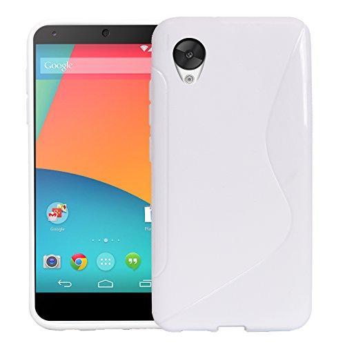 Preisvergleich Produktbild Conie SC24374 S Line Case Kompatibel mit Nexus 5,  TPU Smartphone Hülle Transparent Matt rutschfeste Oberfläche für Nexus 5 Rückseite Design Weiss