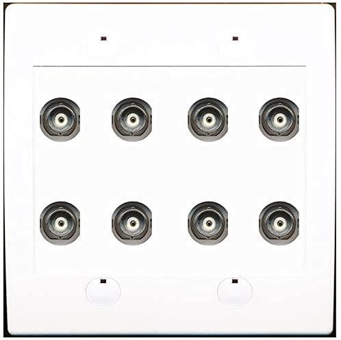 RiteAV 8 Port BNC Female/Female HD-SDI Jack Wall Plate - White
