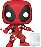 Funko Pop! Marvel: Holiday - Deadpool with Candy Canes Vinyl Figure (Includes Compatible Pop Box Protector Case)