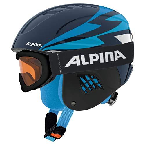 Alpina Sports Unisex Jugend Carat Set Skihelm, Nightblue, 54-58