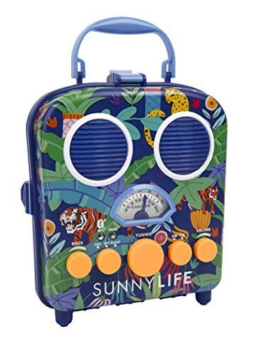 Retro Design Blue Tiger Cheetah Portable Radio MP3 Speaker System Jungle Beach Boombox by Sunnylife Australia