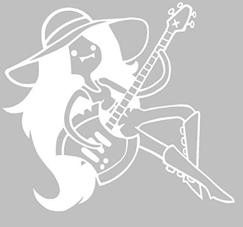 Marceline/W AXT Gitarre–Laptop Vinyl Aufkleber Aufkleber–Adventure Time 14x 12cm, Vinyl, Weiß, 14x12