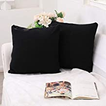 Onacosht Farmhouse Throw Pillow Covers 18x18 Inches Set of 2 Soft Brushed Polyester Rib Knitting Pillow Cases Indoor Outdoor Square Decorative Cushion Cover for Couch Sofa, Black