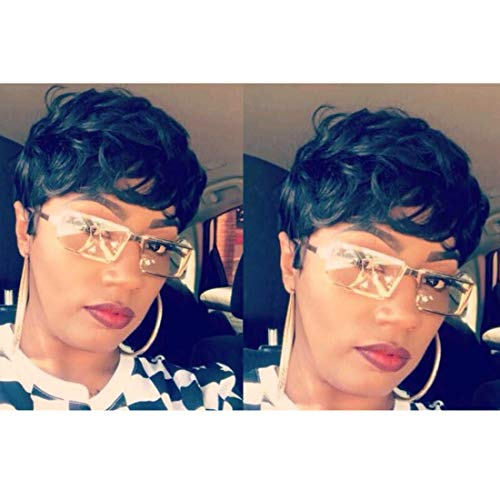 Yviann Short Wavy Synthetic Hair Wigs Pixie Cut Wigs for Black Women Short Black Cute Curly Pixie Wigs 1B Color