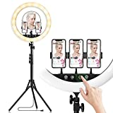 18-inch LED Ring Light with Tripod Stand Photography Kit: Yingnuost Touch & Remote Selfie Lights with Mirror & Dual Phone Holder for iPhone TIK Tok YouTube Video | Makeup | Camera Studio Lighting