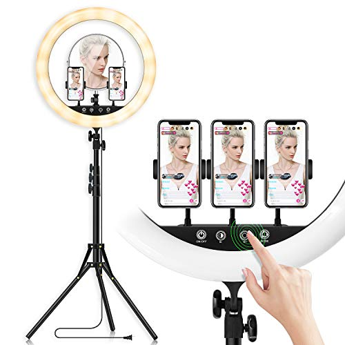 18-inch LED Ring Light with Tripod Stand Photography Kit: Yingnuost Touch & Remote Selfie Lights with Mirror & Dual Phone Holder for iPhone TIK Tok YouTube Video   Makeup   Camera Studio Lighting