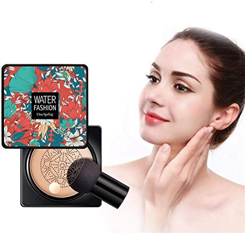 Yagood Flawless CC Cream Foundation, Concealer Cushion Air Cushion CC Cream Mushroom Head Foundation, Long Lasting Waterproof Sweat-Proof Oil Controlling (B (Natural Color))