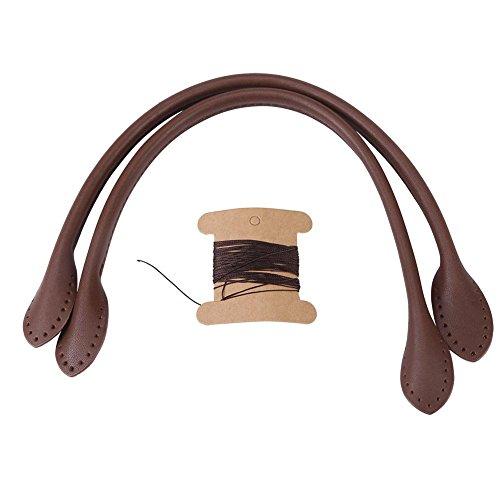 2 Stks Echt lederen tas riemen handvat lederen portemonnee handgrepen vervanging met draad voor DIY Hand Accessoires. (Zwart Bruin Beige) BRON