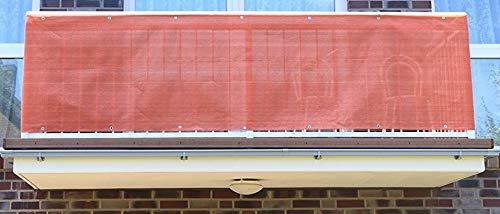 Terracotta 3 x 0,9m Balkonsichtschutz, Balkonverkleidung, Windschutz, Sichtschutz und UV-Schutz für Balkon, Gartenanlagen, Camping und Freizeit