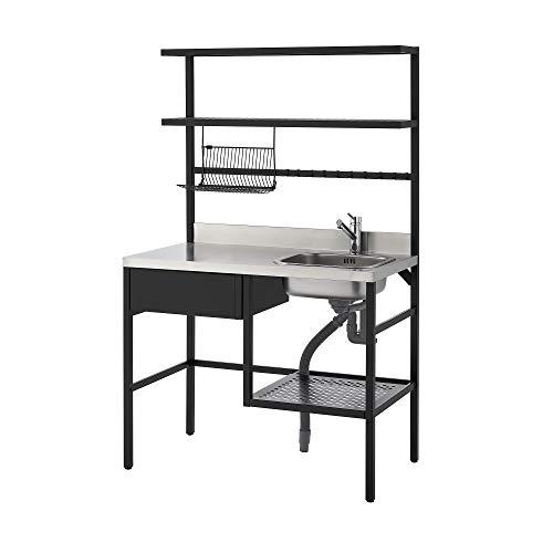 Råvaror Mini-Küche 112x60x178 cm schwarz