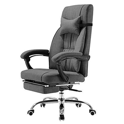 WSDSX Schlafzimmer Home Office Schreibtischstuhl Leisure Boss Stuhl 155 ° verstellbares Design Atmungsaktive Baumwolle Abnehmbare Kopfstütze Home Computer Stuhl Lagergewicht 200 kg grau (Far