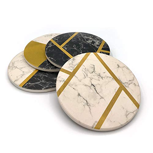 Decorative Marble Coasters for Protecting Furniture Surface from Damage Set of 4 Stone Coasters with Brass Inlay Tableware Accessory for Dining Tables Kitchen Countertops by Artisanal Creations