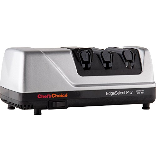 Chef'sChoice EdgeSelect-Pro Diamond Hone Electric Knife Sharpener for Straight and Serrated 20-Degree Knives Made in USA NSF Certified, 3-Stage, Silver