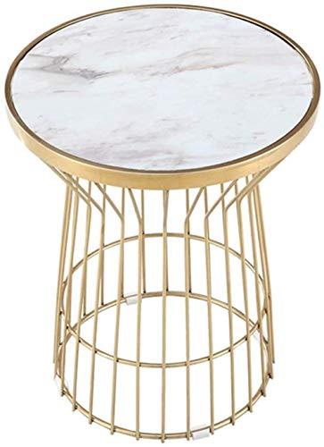 Mesa baja de esquina de acero inoxidable, redonda, color rosa, mármol y sed/sofá pequeño