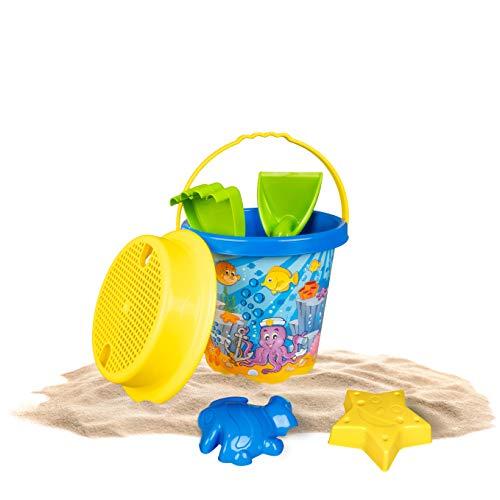 Plitsch Platsch Sandspielzeug Set Unterwasserwelt Krake 6-teilig | Strandspielzeug | Eimer, Sieb, Schaufel & Harke, 2 Sandförmchen