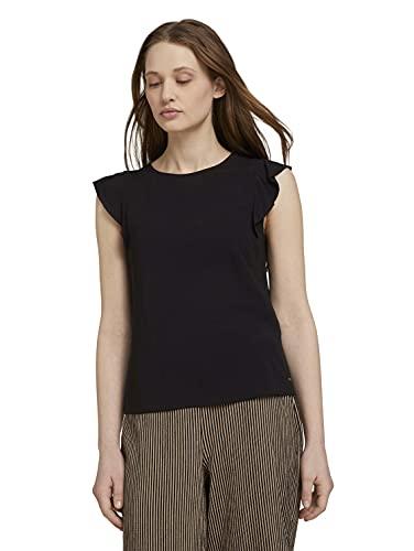 TOM TAILOR Denim Damen 1026105 Top Bluse, 14482-Deep Black, XL