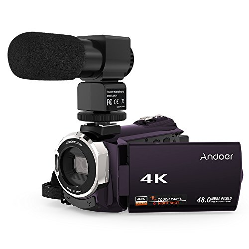 4K Camcorder, Andoer Digital Video Camera 2880 x 2160 48MP HD 3inch Touchscreen Handy Camera with IR Night Sight Support 16X Zoom 128GB Max Storage (Purple+Microphone)