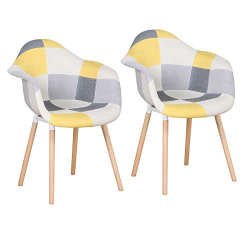 BenyLed Juego de 2 sillones de tela para comedor tapizados en tela de patchwork con patas de madera de haya natural maciza (amarillo)