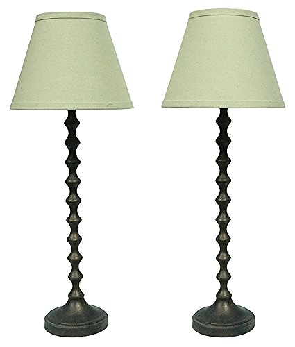 Urbanest Set of 2 Hastings Table Lamps in Paris Bronze with Natural Linen Shades