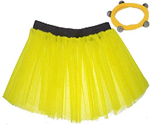 A-Express Tütü Rock Neon Tutu Netz Tüllrock 3 Lagen Petticoat für verrücktes Kleid Party Kostüm, Gelb, EU 34-44 (Herstellergröße: 10 - 18)