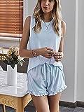 MYJ Tie-Dye de la casa Servicio de casa de Dos Piezas Chaleco de Verano para Mujer Boxer Shorts Pajamas,Sky Blue,M