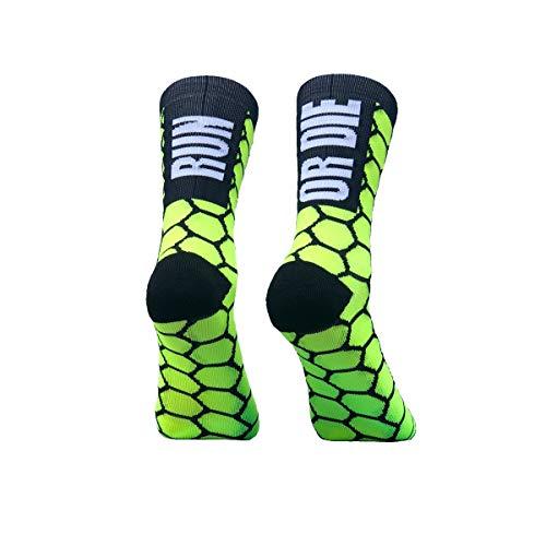 PERRO LOCO CLOTHES Calcetines de Running compresivos con Refuerzo en Puntera, prepuntera y talón. Edición Limitada. (Run OR Die Amarillo, 37-39)