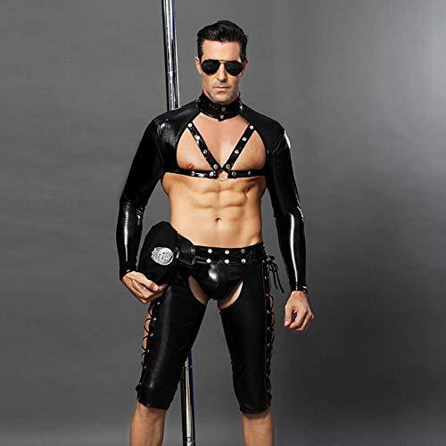 Z-DJJ Costume Cosplay della Polizia Sexy Uomo, Uniforme in PU da Poliziotto di Halloween con Benda sugli Occhi, Costume da Flirt con Intimo da Poliziotto mascherato per Uomo Marito Fidanzato