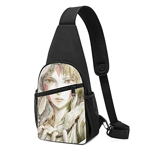 Anime Princesa Mononoke Sling Bag Pequeño Pecho Bolsa Hombro Cintura Messenger Mochila Viaje Al Aire Libre Montañismo Paquete