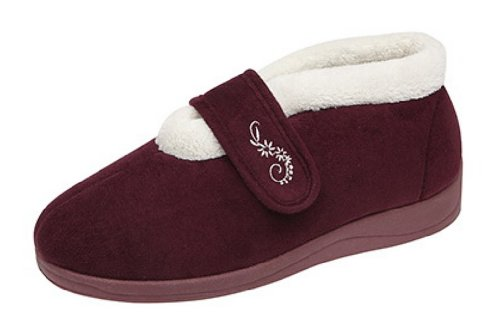 Zapatillas Dunlop Deloris, para mujer, con forro polar, amplias, ajustables, con velcro, color Rojo, talla 39 EU