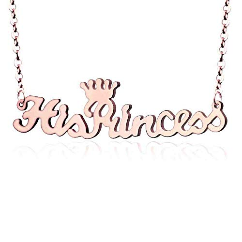 Juanquan Name Necklace Lady Name Tag Necklace Personalized Customized Stainless Steel Gold Plated Jewelry Gift for Women Rose Gold