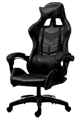 POKAR Gaming-Sportstuhl Racing Stuhl für Gamer, Chefsessel für PC-Spieler, Schreibtischstuhl mit Höhenverstellung, Computerstuhl mit Kopfstütze und Lendenkissen, Drehstuhl bis 180kg, schwarz