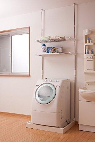 アイリスオーヤマランドリーラック突っ張りステンレス幅65.7~99.2cm×奥行31×高さ200~270㎝(幅56~90cmまでの洗濯機に対応)LRT-27S