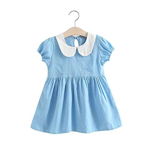 Vestido infantil de verão para meninas, saia de cor lisa, gola de boneca, mangas bufantes, conjunto de roupas de princesa, Azul, 120 cm