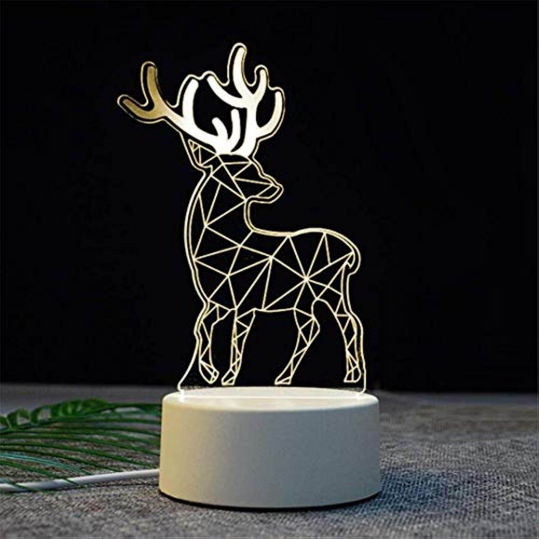 YB Nachtlicht Kreative Cartoon 3D Tischlampe Projektion Augenschutz Nachttischlampe Elch Acryl Led Nachtlicht Geschenk