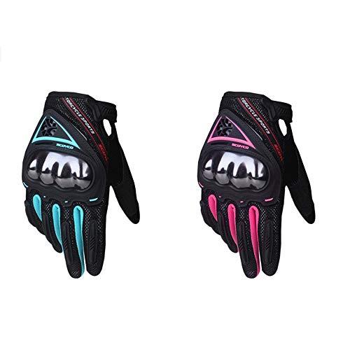 SCOYCO Guantes de Moto para Mujer Pantalla táctil Transpirable Antideslizante Antigolpes MBX/MTB/ATV Guante de Ciclismo Guantes de Moto (Azul, S)