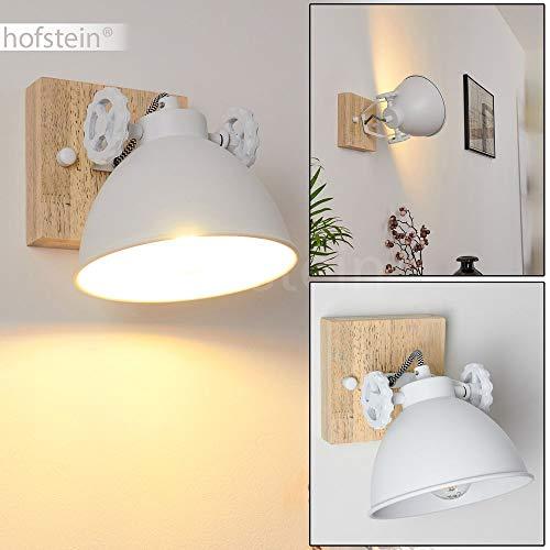 Wandleuchte Svanfolk, Wandlampe aus Metall und Holz in Weiß/Natur, 1-flammig, mit verstellbarem Strahler, 1 x E14-Fassung, max. 40 Watt, Retro/Vintage Design