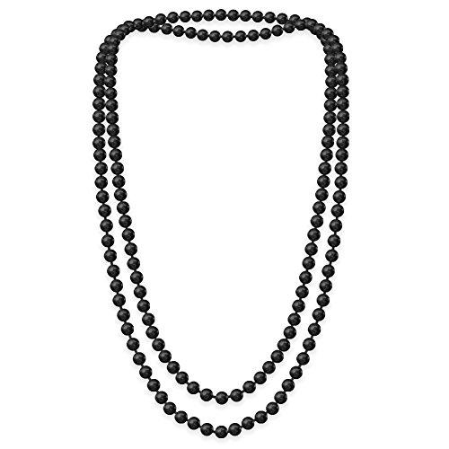 SoulCats Eine süße Kette Perlenkette Perlen viele Farben XXl lang pink blau creme, Farbe:Schwarz;Kettenlänge:148 cm