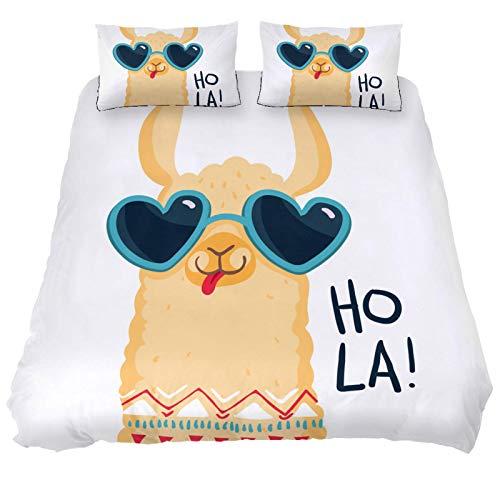 Juego de funda de edredón de 3 piezas de poliéster, ropa de cama 100% tela natural, gafas de sol alpaca estilo Hola Morden con cierre de cremallera