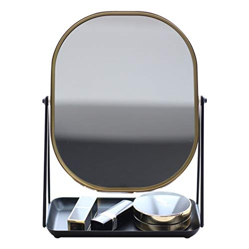 SJYDQ Espejo de Maquillaje, de Doble Cara del rectángulo 1X / 3X de Aumento de Alta definición Permanente de Escritorio Espejo de cortesía con Bandeja