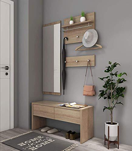 Natsen 4tlg. komplett Garderobenset Flurgarderobe Wandgarderobe | 1 Bank + 1 Spiegel +2 Garderobenpanel | Diele/Flur Set | Holz