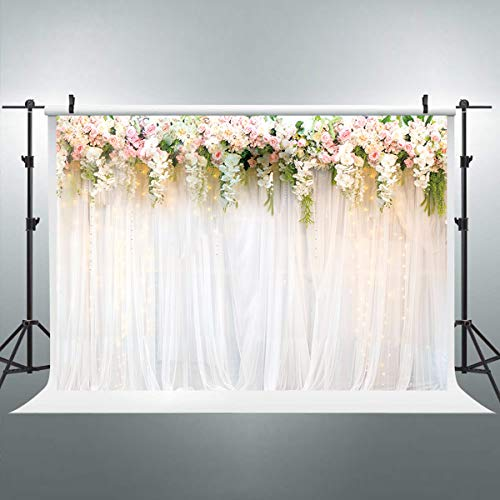 Riyidecor Wedding Bridal Floral Wall Backdrop Fabric Polyester 8Wx6H Feet Pink White Rose Flowers Photography Background Reception Ceremony Decoration Props Party Photo Shoot Backdrop