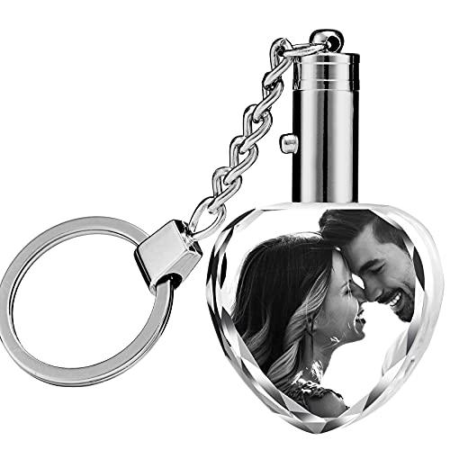 Kristall Schlüsselanhänger Foto,Personalisierte Schlüsselanhänger mit Gravur, Foto Schlüsselanhänger mit LED-Licht für Hochzeitstag Geburtstag Weihnachten,Herz