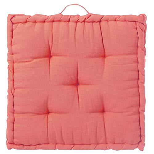 Cojín Grande Acolchado de Suelo Coral rústico de algodón y poliéster, de 60x60 cm - LOLAhome